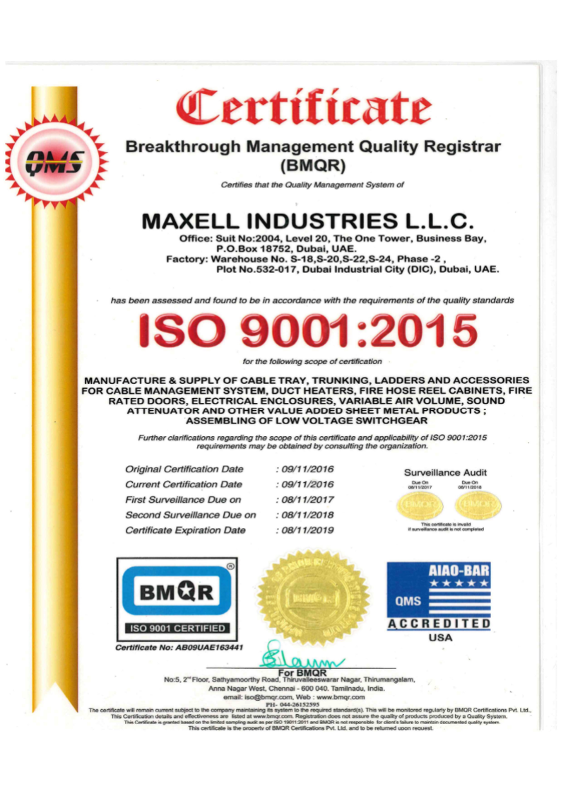 ISO certificate Maxell industries